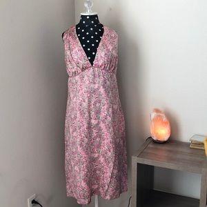 100% Silk Kenzie Halter Dress Pink floral Sz 12